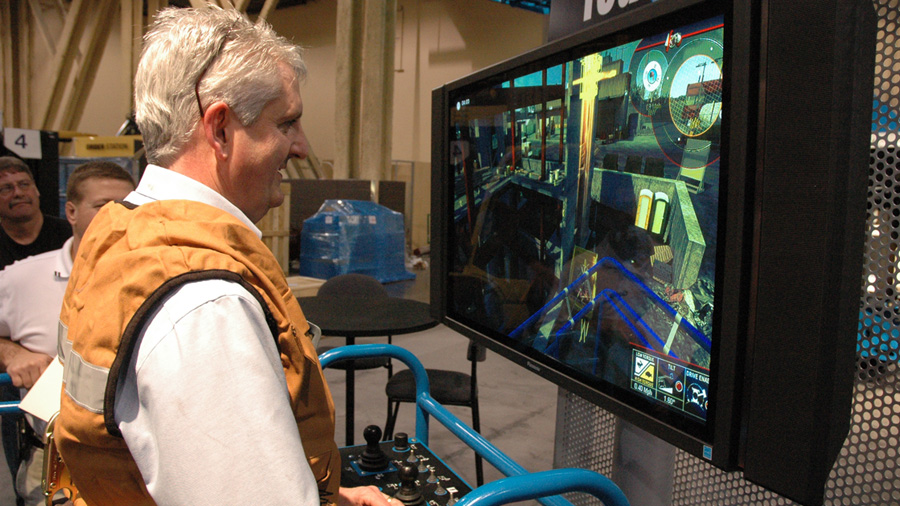 Genie Director of Service, Steve Gooding, tests the quality of the simulation.